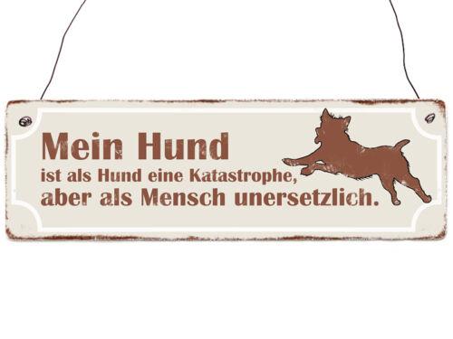 Holzschild Shabby Vintage MEIN HUND IST ALS HUND EINE KATASTROPHE Hund Haustier