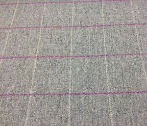 Light Grey/Pink/Natural Check, Pure Wool Fabric.UK Woven ...