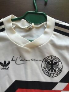 Details zu DFB Deutschland Adidas Trikot Weltmeister 1990 mit Autogramm Beckenbauer