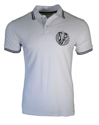 BNWT Versace Jeans Noir et Blanc Bordure À Rayures Polo Shirt VJ Tiger la poitrine RARE