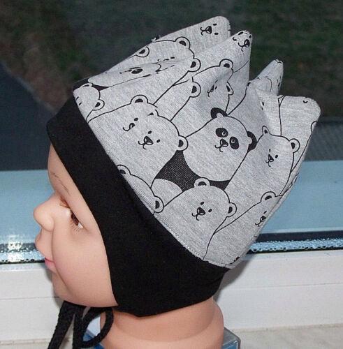 Baby Zipfelmütze Mütze Panda Jersey  45-48 cm KU Handmade*Neu