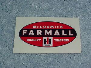 Vintage Reproduction Farmall McCormick International Harvester Decal
