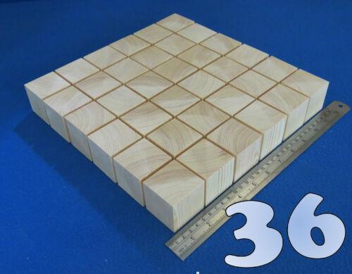 "LOT x 36 CUBES 1.7/""// 45 mm WOODEN BLOCKS BUNDLE SET PINE WOOD NATURAL ECO BRICKS"