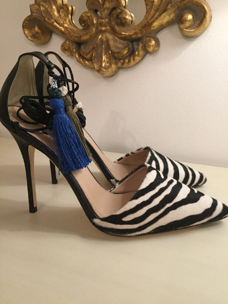 J Crew Collection Roxie Zebra Calf Hair Ankle-Tie Pumps Sz 8 E5053 Zebra  368