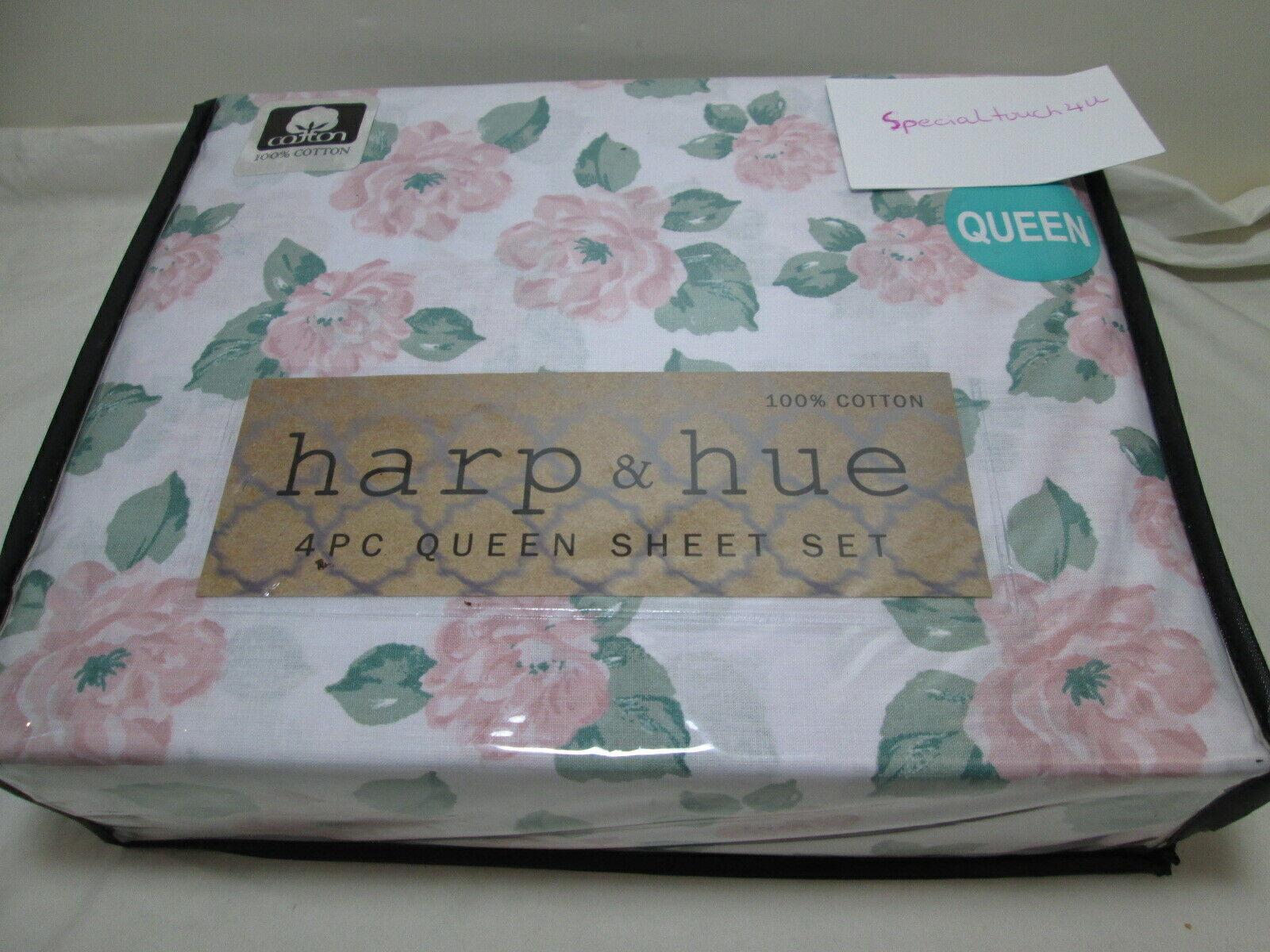 New Harp & Hue Floral Queen Sheet Set  Pink Flower and Green Leaf NIP