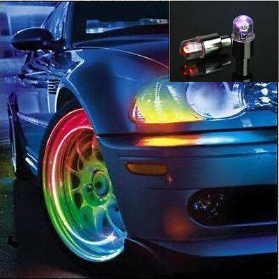2 x Bicycle Bike Car Wheel Tire Valve Cap Led Flash Light Neon Lamp Blue Light