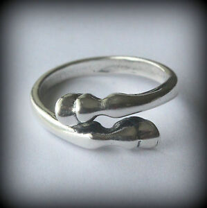 NEW Solid Sterling Silver Bypass Horses Hoof Ring Band Size 8 Equestrian BEAUTY!
