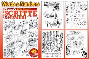 Image Is Loading SCRIPT Amp NUMBERS Tattoo Flash Design Book 66