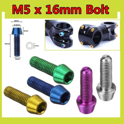M5 x 16mm Titanium Ti Hex Tapered Head Bolt Screw Bicycles Bike Stem Bolt 0.19/'/'