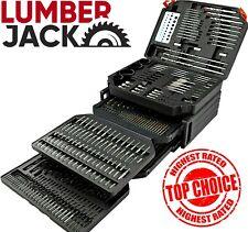 New Lumberjack 300 Piece Drill & Bit Set Titanium HSS Metal Wood in Bits Case