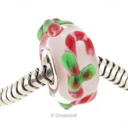 Sterling Silver Noël Stick Candy Cane perle de verre F//European Charm Bracelet