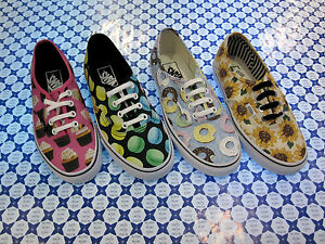 Scarpe-Vans-Authentic-Fantasie-Uomo-Donna-Donuts-Cupcakes-Macaroons-Sunflower
