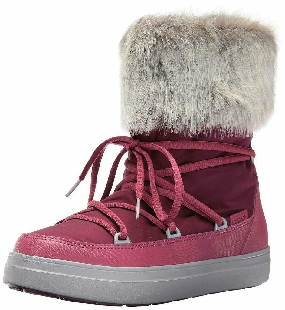 Crocs LodgePoint LaceUp Snow Boot Women's Pomegranate shoes Size 7 NEW