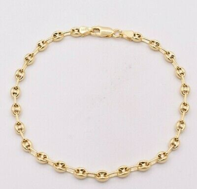 Ladies Bold Thick Figaro Bracelet 14K Yellow Gold Clad Sterling Silver 925 15mm