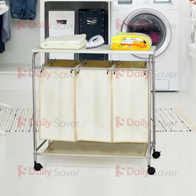 Laundry Hamper 3 Washing Basket Bag Sort + Ironing Board Trolley Clothes CREAM