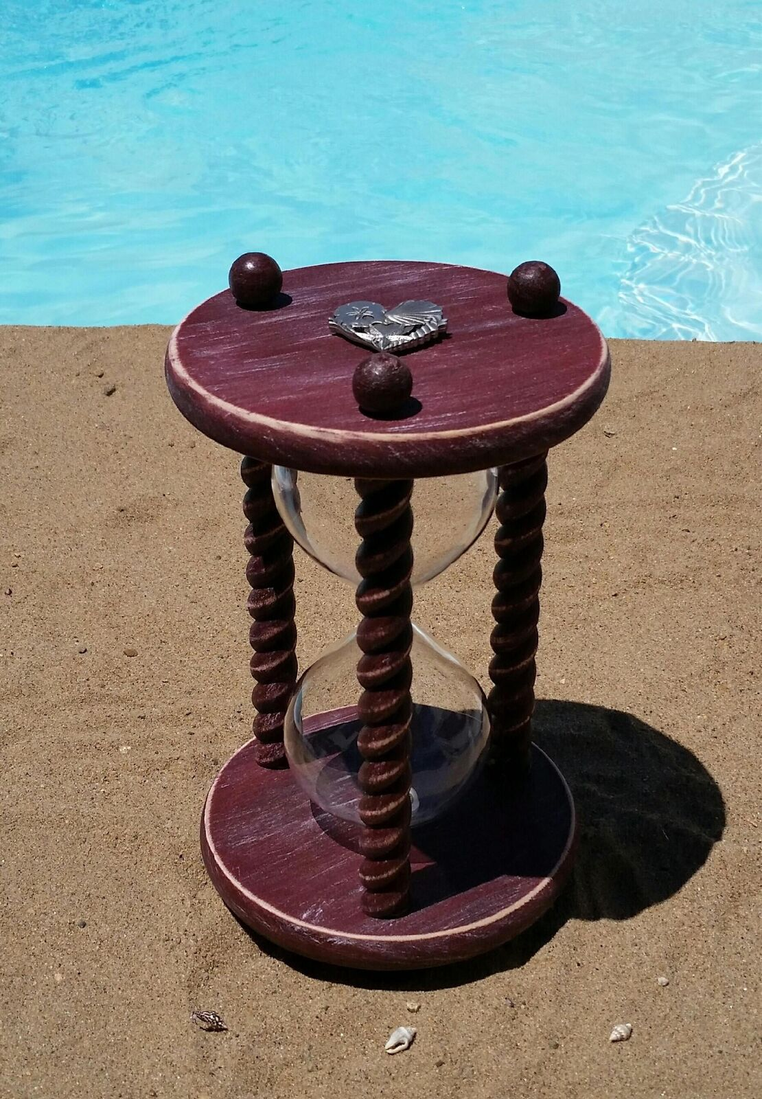 Beach Wedding Hourglass in Sunset rot Beach Beach Beach Wood - Heirloom Wedding Unity Sand C 57d2d4