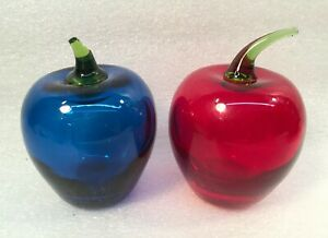 Vintage-Blenko-Transparent-Red-amp-Blue-Apple-Paperweights