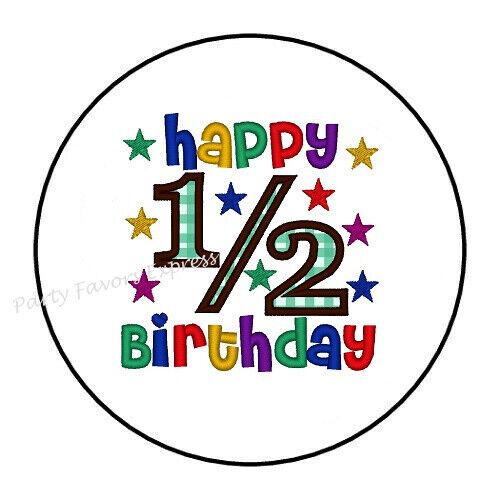 "30 HAPPY 1//2 HALF BIRTHDAY ENVELOPE SEALS LABELS STICKERS PARTY FAVORS 1.5/"""