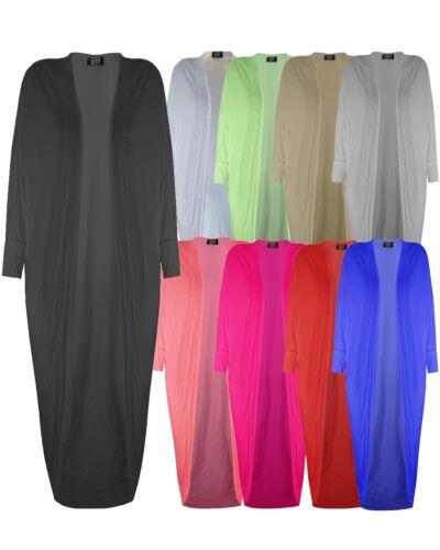 Ladies Womens Long Batwing Boyfriend Open Cardigan Kimono Maxi Shawl Dress Top