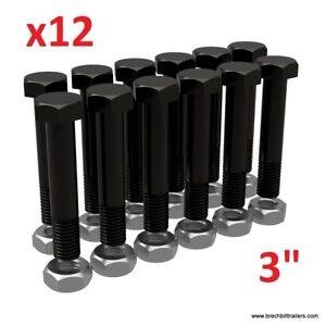 """Trailer leaf spring shackle bolts  9//16/""""-18 x 3/"""" w// lock nuts 23030//12 4"""
