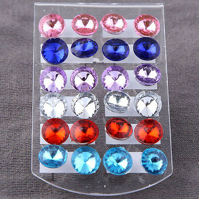 Colorful 12 Pairs Crystal Rhinestone CZ Ear Stud Earring Women Party Jewelry
