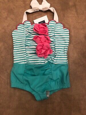 cbe9de4ca0eed NWT Janie and Jack girl one-piece Teal Rosette bathing suit swim suit 3 6
