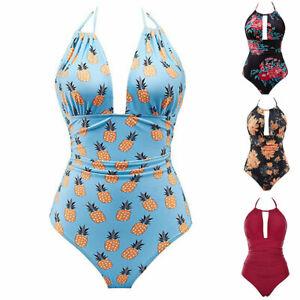 Women-039-s-One-Piece-Swimsuits-Tummy-Control-Swimwear-Slimming-Bathing-Suit-Halter