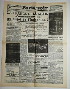 N690-La-Une-Du-Journal-Paris-soir-22-aout-1940-la-France-et-le-Japon