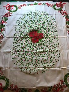 image is loading poinsettias holly berries red green white vintage christmas