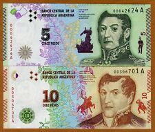 Argentina 6 Note Set 5 to 200 Pesos 2015//2018 p359 to p364 UNC