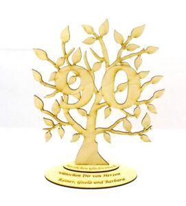 Jubilaeums-Baum-zum-90-Geburtstag-Personalisiert-Holz-28-cm-Geschenk-Lebensbaum