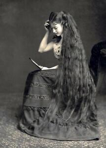 Antique-Photo-Victorian-Woman-With-Long-Hair-Photo-Print-5x7