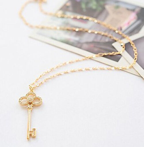 Fashion Charm jewelry Retro Key Crystal long Pendant sweater Chain Necklace N16