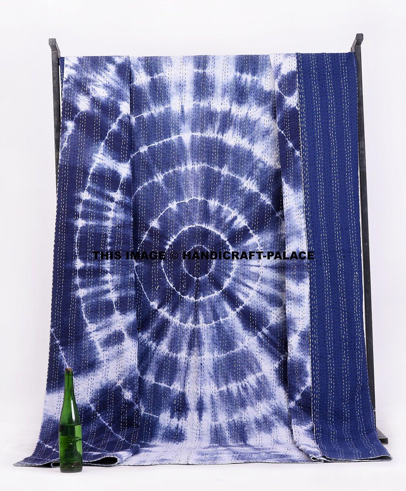 Tie Dye Indigo Mandala Kantha Quilt Cotton Indian Queen Größe Bedspread Blanket