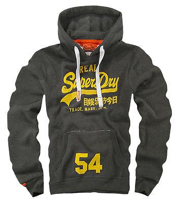 NEW Original Men's Vintage Charcoal HOODIE REAL SUPERDRY  SWAG Sweatshirt