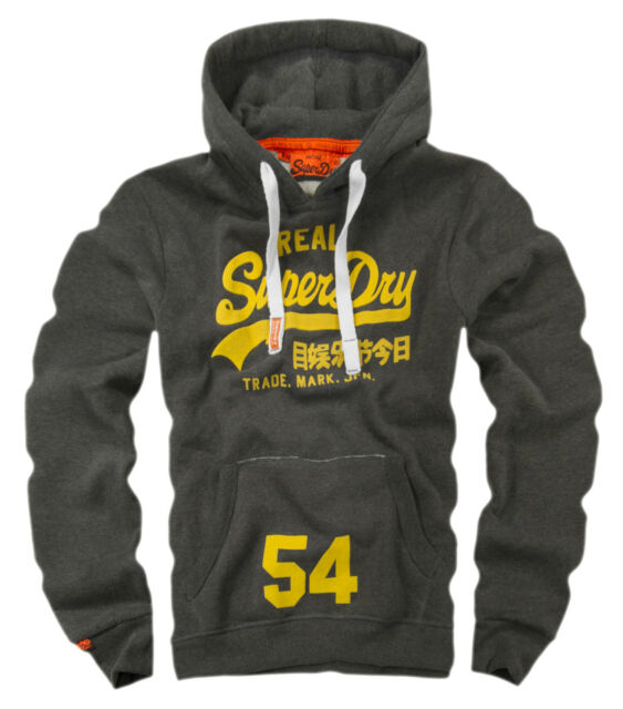 NEW Original Men's Vintage Charcoal HOODIE REAL SUPERDRY  SWAG Sweatshirt