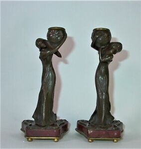 paar-figuerliche-Jugendstil-Kerzenleuchter-Bronze