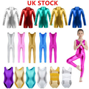 UK-Kids-Girls-Gymnastics-Ballet-Dance-Leotard-Metallic-Dancewear-Sports-Unitards