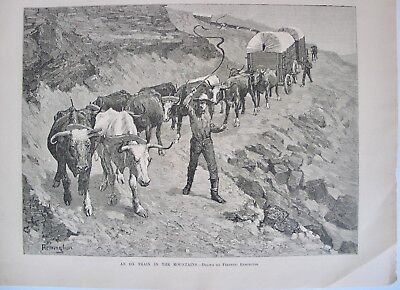 OX TRAIN IN THE MOUNTAINS BY FREDERIC REMINGTON OXEN