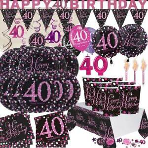 AGE-40-Happy-40th-Birthday-BLACK-amp-PINK-Sparkle-Party-Range-Banners-Decorations