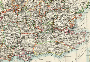 Map-of-England-SE-London-Surrey-Dorset-W-amp-AK-Johnston-1902-Original-Antique