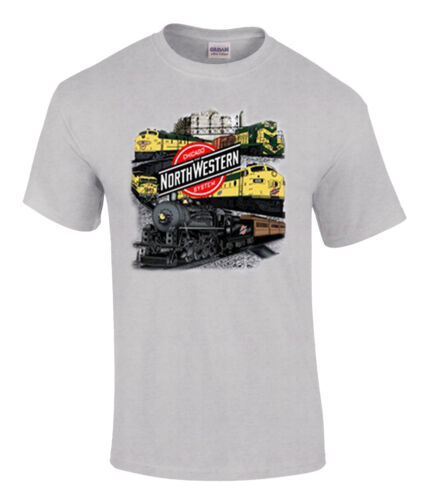 49 Chicago and Northwestern Collage Authentic Railroad T-Shirt Tee Shirt
