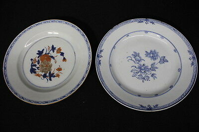 Pair of 2 Antique Late 18th Century Chinese Export Blue \u0026 White 9\  Floral Plates & Pair of 2 Antique Late 18th Century Chinese Export Blue \u0026 White 9 ...