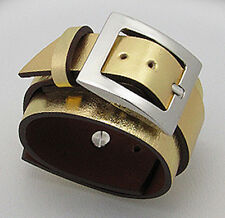 """6.5-8""""  SEXY Gold Painted Leather Belt Buckle Bracelet Cuff with Stainless Steel"""