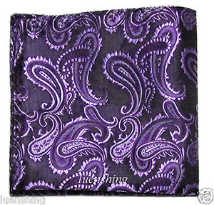 New Brand Q Men/'s  micro fibe Pocket Square Hankie Only paisley Beige prom party