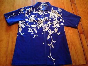 Authentic Vintage 1960's 1960's Hawaiian Shirt. Blue & White Mens M Poly