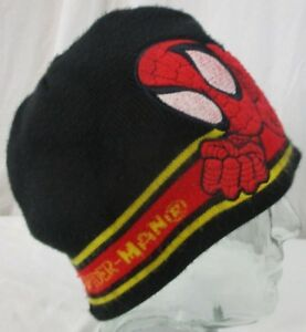 ee81bd3e302 SPIDER MAN Marvel Knit HAT Child Boy s Winter Knit Beanie black red ...