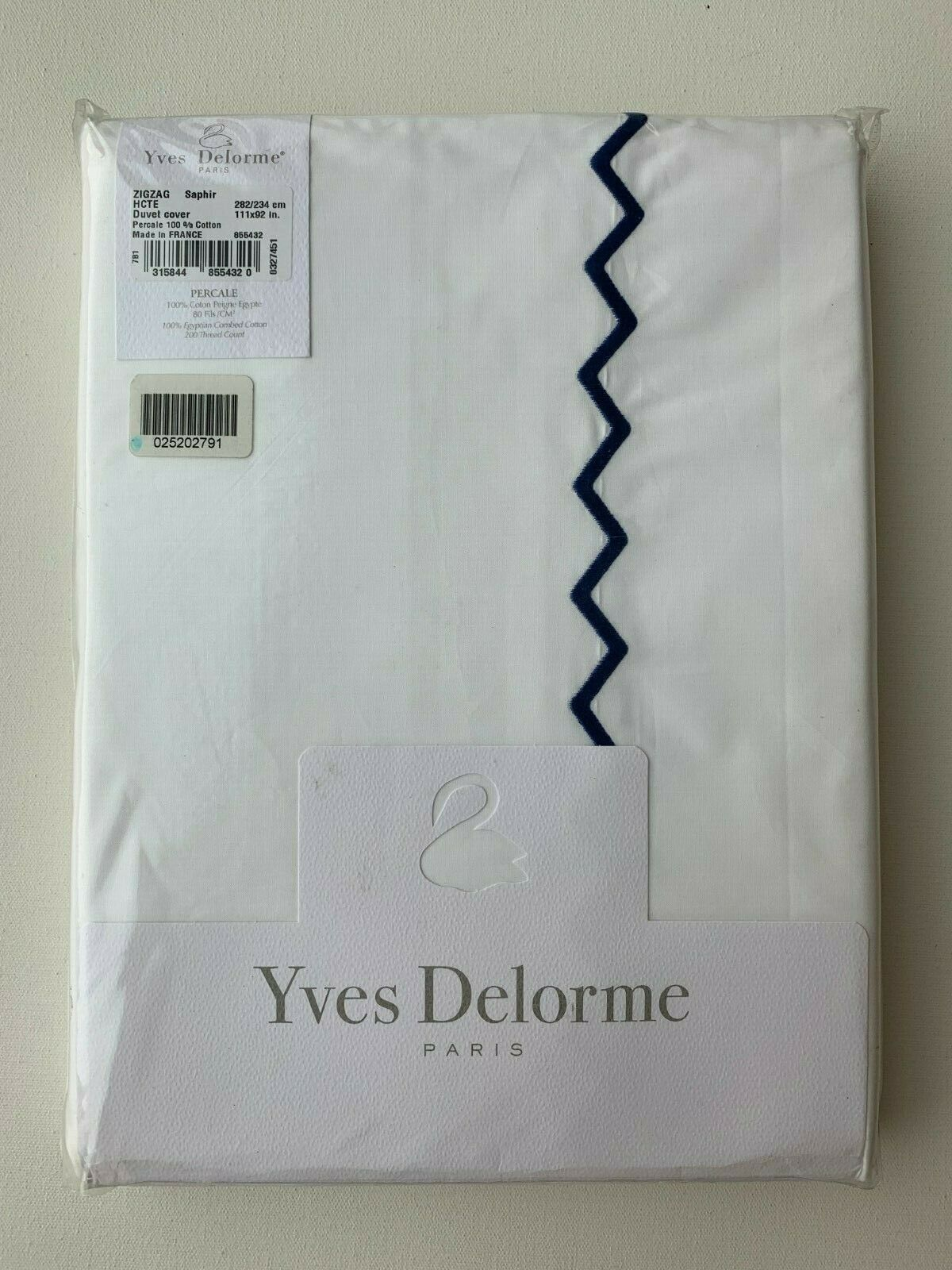 Yves Delorme ZIGZAG Zig Zag Duvet Cover in Saphir King Size 111 x 92 in - NEW