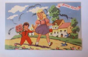 Geburtstag-Kinder-Blumen-1930-Glitzerkarte-30726