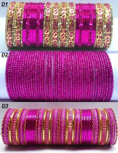 2.8 Jewelry Indian Gold Tone Fuchsia// Rani Color Style Fashion Bangles Set  2.6